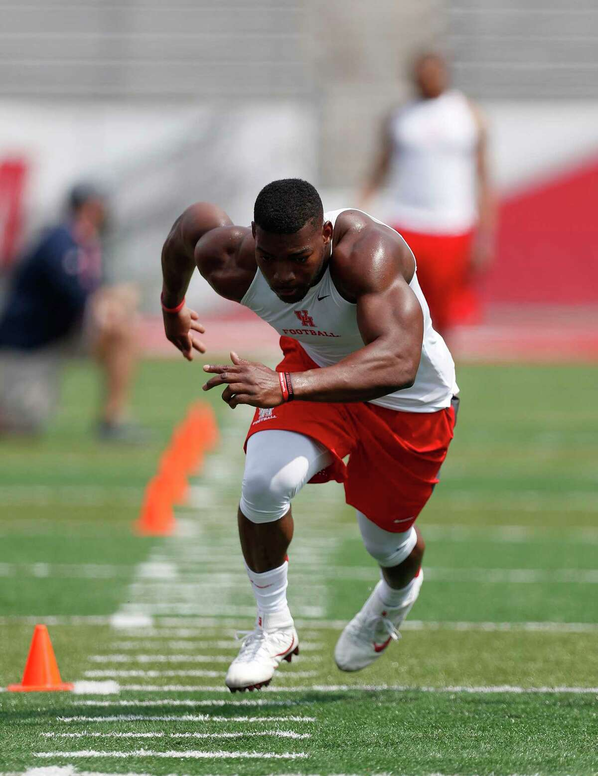 Tyus Bowser runs during an agility drill at the University of Houston Pro Day, Monday, March 27, 2017, in Houston.