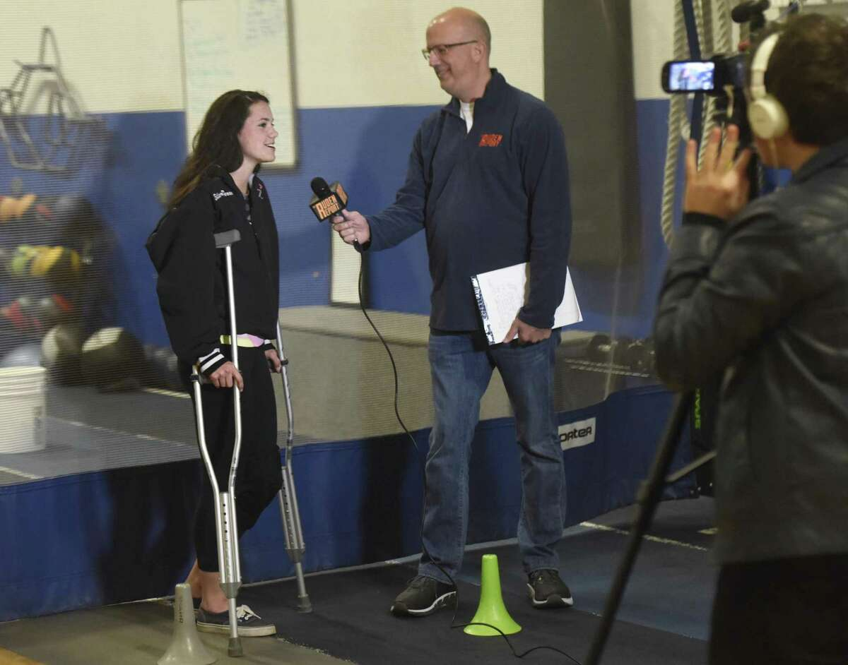 New Canaan senior Ellery Baran gets interviewed by Dave Ruden at the 2017 FCIAC Lacrosse Media Day at BlueStreak Sports Training in Stamford, Conn. Monday, March 27, 2017. Presented by the Ruden Report, the third-annual media day gave FCIAC lacrosse players and coaches from across Fairfield County the opportunity to hang out in a noncompetitive environment before kicking off the 2017 season.