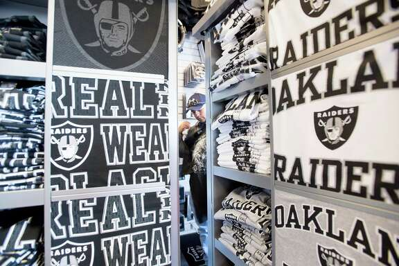 Freddie Rodriquez shops at Raider Image on March 27, 2017, in Oakland, Calif., shortly after the NFL approved the team's move to Las Vegas. Rodriguez, vacationing from Austin, picked Oakland for his trip because of his love for the Raiders.