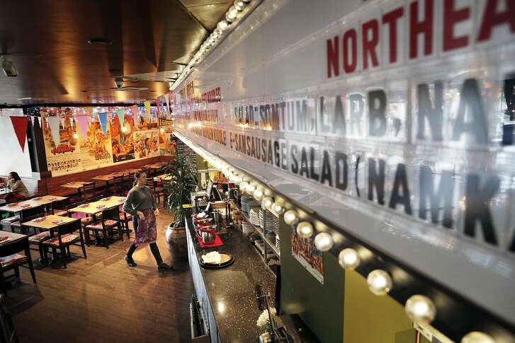 The menu is displayed on a movie marquee at Saap Ver, a new SOMA restaurant that specializes in lesser-known regional Thai dishes, in San Francisco, Calif., on Sunday, March 26, 2017. The restaurant has an interior, which takes inspiration from Thai countryside street markets and 1970s era outdoor film showings,