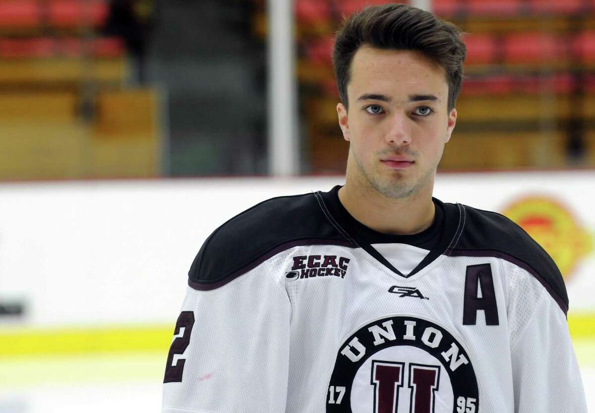 Union College men's hockey assistant captain Jeff Taylor during media day at the Union College Messa Rink on Friday Oct. 2, 2015 in Schenectady , N.Y. (Michael P. Farrell/Times Union) ORG XMIT: MER2015100216532285