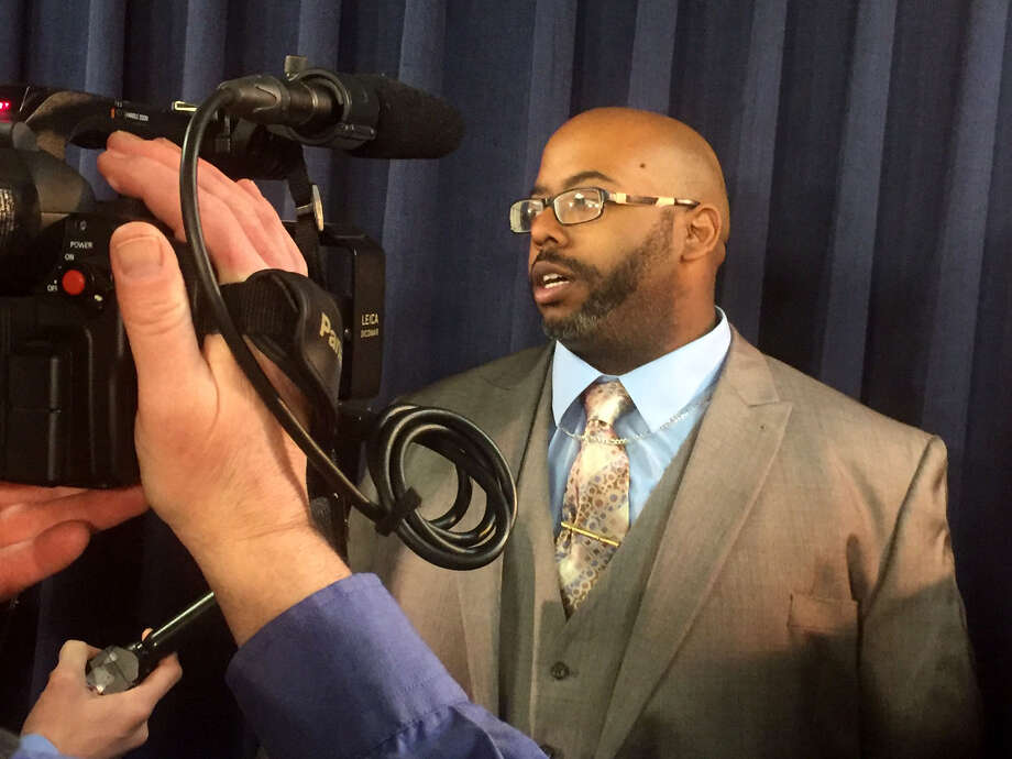 Former Troy resident Adrian Thomas discusses how the video recording of his 2008 interrogation by police was key to his ultimate acquittal on charges that he killed his four-month-old son in 2008. Thomas spoke at the state Capitol on March 27, 2017, in Albany, N.Y. (Casey Seiler/Times Union) Photo: Casey Seiler