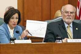 Senator Lois Kolkhorst presents graphic history of revenues with Senator Robert Nichols observing as State Comptroller Glenn Hegar testifies at the Senate Finance Committee meeting at the State Capitol on January 26, 2016.