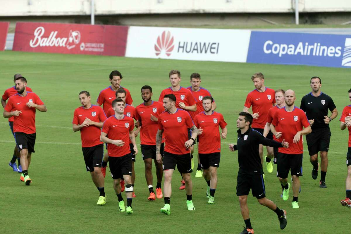 United States players warm up during a training session in Panama City, Monday, March 27, 2017. United States will face Panama for 2018 World Cup qualifying soccer match on Tuesday. (AP Photo/Arnulfo Franco) ORG XMIT: PAN103