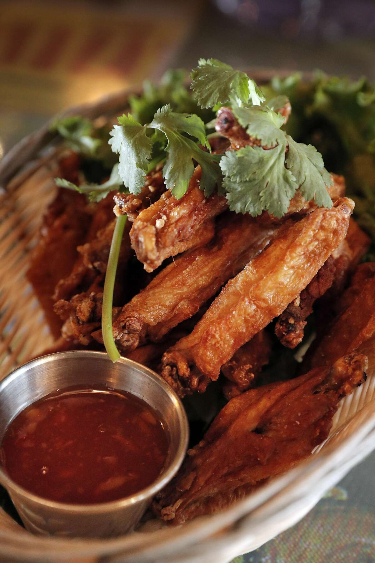 The Salted Wings served at Saap Ver, a new SOMA restaurant that specializes in lesser-known regional Thai dishes, in San Francisco, Calif., on Sunday, March 26, 2017. The restaurant has an interior, which takes inspiration from Thai countryside street markets and 1970s era outdoor film showings,