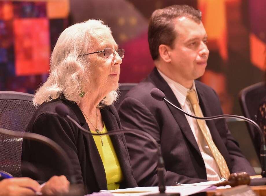 SAISD board president Patti Radle and Superintendent Pedro Martinez at a meeting last year. Photo: Robin Jerstad /San Antonio Express-News / ROBERT JERSTAD