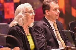 SAISD board president Patti Radle and Superintendent Pedro Martinez at a meeting last year.