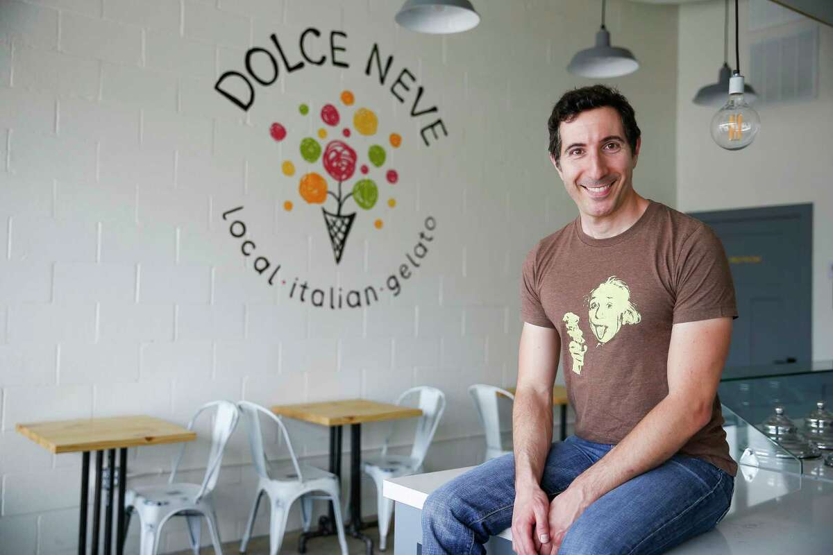 Dolce Neve co-owner Marco Silverstini sits in the new Heights gelato shop, opening March 30 at 4721 N. Main in the Heights.