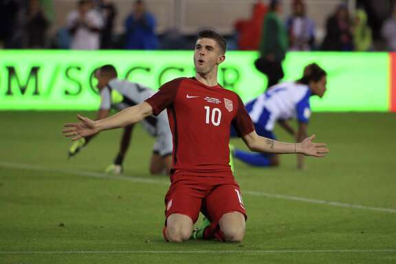 SAN JOSE, CA - MARCH 24:  Christian Pulisic #10 of the United States celebrates after scoring a goal against Honduras during their FIFA 2018 World Cup Qualifier at Avaya Stadium on March 24, 2017 in San Jose, California.