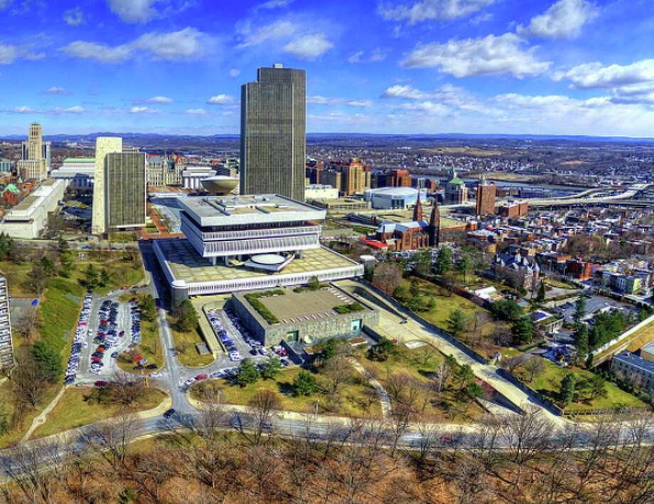 A great view of the New York State Museum and surrounding downtown Albany from @milfodd's drone. Photo: .