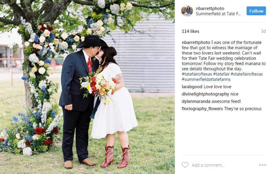 "@nbarrettphoto: ""I was one of the fortunate few that got to witness the marriage of these two lovers last weekend. Can't wait for their Tate Fair wedding celebration tomorrow! Follow my story feed manana to see details throughout the day. #tatefairoftexas #tatefair #statefairoftexas #summerfieldattatefarms"" Photo: Instagram/@nbarrettphoto"