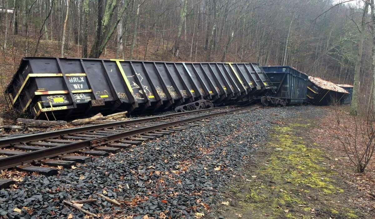 A Housatonic Railroad train derailed Monday night, closing River Road through Tuesday morning.