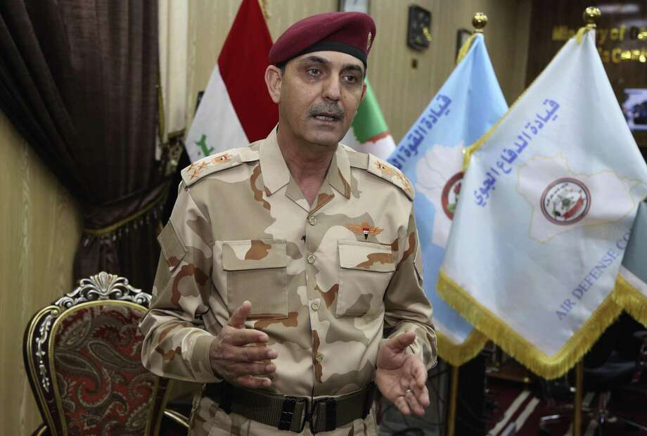 """Brig. Yahya Rasool Abdullah, an Iraqi joint command spokesman, speaks during an interview with The Associated Press in Baghdad, Iraq, Tuesday, March 28, 2017. """"It is a new tactic being used by the members of this terrorist group, using big car bombs against the troops that impact the civilians to inflame the public and to convey a wrong message to the world that the joint forces and the international coalition are behind the killing and bombings,"""" he told The Associated Press. (AP Photo/Karim Kadim) Photo: Karim Kadim, STF / Associated Press / Copyright 2017 The Associated Press. All rights reserved."""