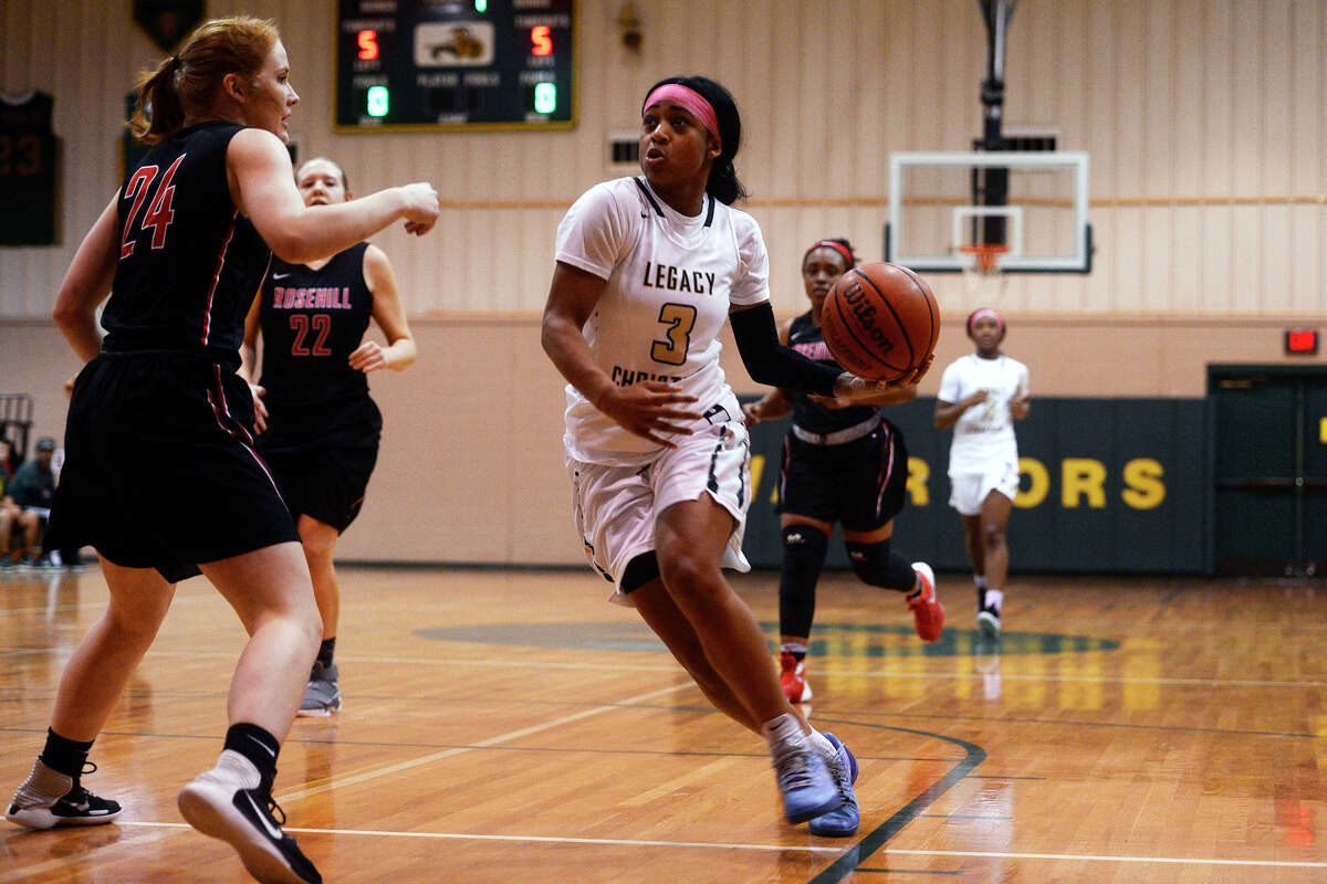 Legacy Christian Academy's Alexis Morris drives toward the hoop during her final home game against Rosehill Christian on Tuesday evening. Morris, a McDonald's All-American, will play college basketball at Baylor. Photo taken Tuesday 2/7/17 Ryan Pelham/The Enterprise