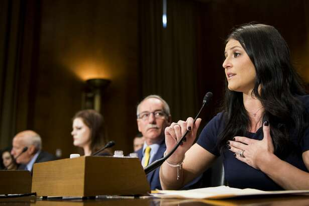 "Dominique Moceanu, 1996 Olympic gymnastics gold medalist, testifies during the Senate Judiciary Committee hearing on ""Protecting Young Athletes From Sexual Abuse"" on Tuesday, March 28, 2017. (Photo By Bill Clark/CQ Roll Call)"