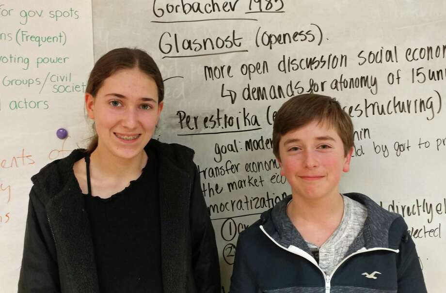 Greenwich High freshmen Lilly Adamo (left) and Toby Hirsch (right) collected second place at the Connecticut Debate Association's State Tournament on March 18. Photo: Contributed