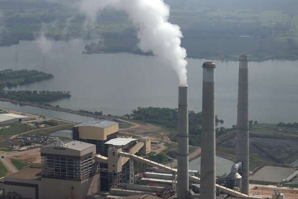 CPS' four coal-fired power plants sit on Calaveras Lake. The J.T. Deely plant (smokestack in the center left) was built in 1977 and is scheduled to be mothballed at the end of 2018. The J.K. Spruce 1 (left) and Spruce 2 (right) are newer coal-fired power plants built in 1992 and 2006, respectively. President Donald Trump signed an executive order today that would begin rolling back aspects of President Barack Obama's Clean Power Plan, which would have restricted carbon dioxide emissions from power plants.