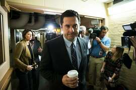 Rep. Devin Nunes of California, the Republican chairman of the House Intelligence Committee, walks past the media as he arrives for a House GOP Conference meeting on Capitol Hill in Washington, Tuesday, March 28, 2017. Top Democrats have rebuked Nunes for his secret meeting on the White House grounds to review intelligence related to surveillance involving President Trump�s team. (Doug Mills/The New York Times)