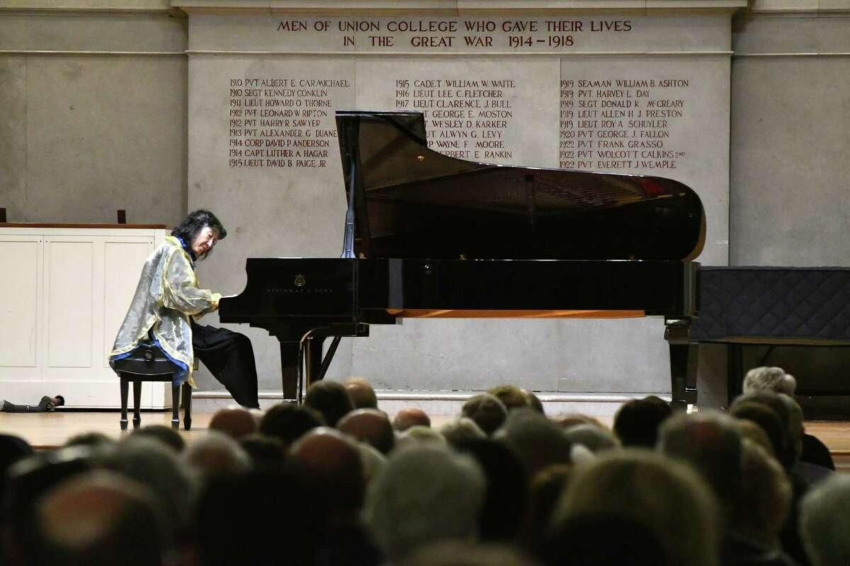 Mitsuko Uchida perform at Union College's Memorial Chapel on Monday night in Schenectady. photo credit: Michael P. Farrell