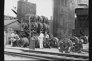 Coils of cables at the Pennsylvania Shipyards in Beaumont in May 1943.  Photo from Farm Security Administration via Library of Congress