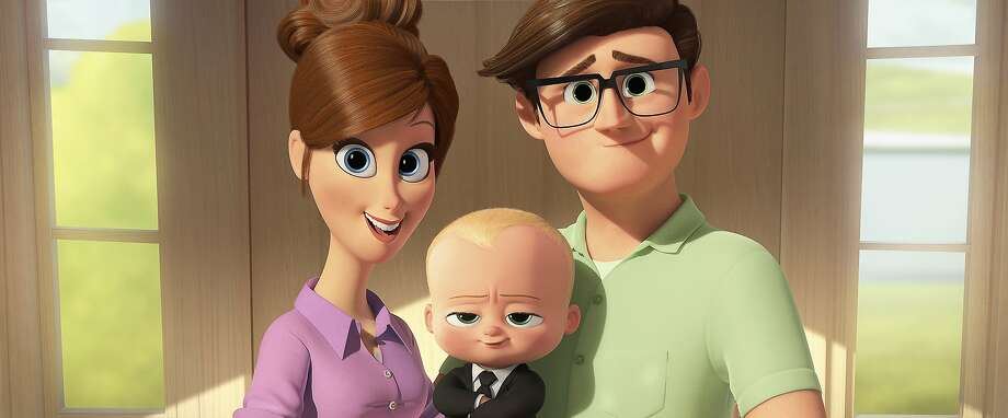 Mother (voiced by Lisa Kudrow) and Father (Jimmy Kimmel) fail to pick up on Boss Baby's corporate attitude, because only his brother can hear him speak. Photo: DreamWorks Animation, Associated Press