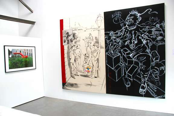 "(left) Lewis Watts' ""The Museum of the History of Immigration, Paris,"" (archival pigment print, 30� x 44�, 2014, on loan from the San Francisco Museum of Modern Art Artist�s Gallery) and (right) Hung Liu's ""Chinese Trade Monopoly"" (oil on canvas, 90"" x 120"", 1988, on loan from the Rena Bransten Gallery)"