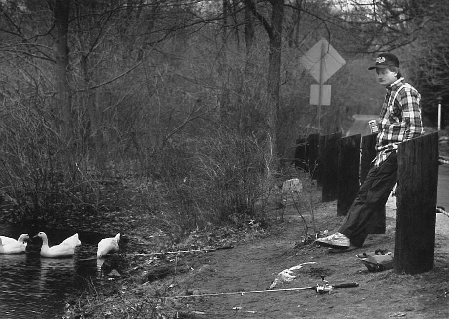 John Linn of Old Greenwich fishes in the Mianus River by Valley Road on April 16, 1988, on opening day of the state fishing season. Photo: Steven Daniel /