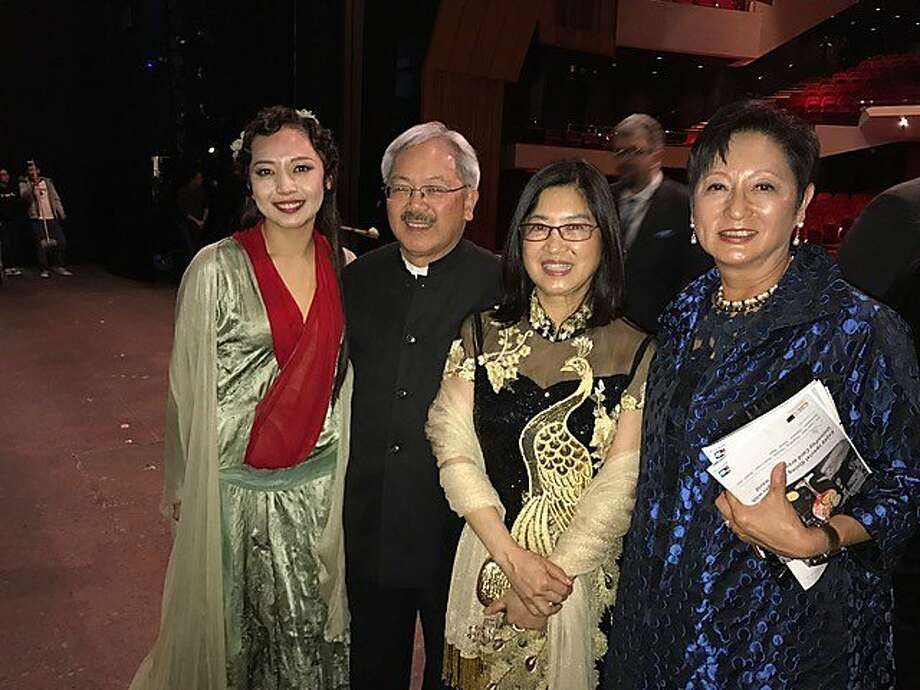 "Mayor Ed Lee attends the Hong Kong premiere of ""Dream of the Red Chamber"" in March with Pure um Jo (left); his wife, Anita Lee; and Doreen Ho. Photo: Office Of The Mayor, With Permission To San Francisco Chronicle"