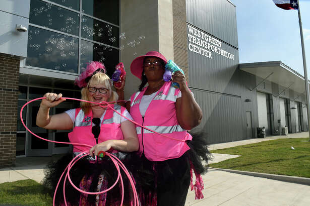 Cy-Fair ISD bus drivers and rodeo clowns for a day Leslee Hall, left, and Paula Blair entertained guests and competitors at the CFISD transportation department School Bus Safety Road-e-o at the new Westgreen Transportation Center in Cypress on March25, 2017. (Photo by Jerry Baker/Freelance)