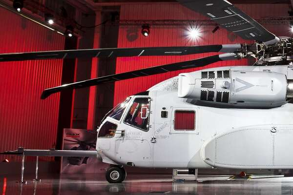 The Marine Corps Sikorsky CH-53K King Stallion helicopter is revealed during the Roll Out Ceremony at the Sikorsky Headquarters