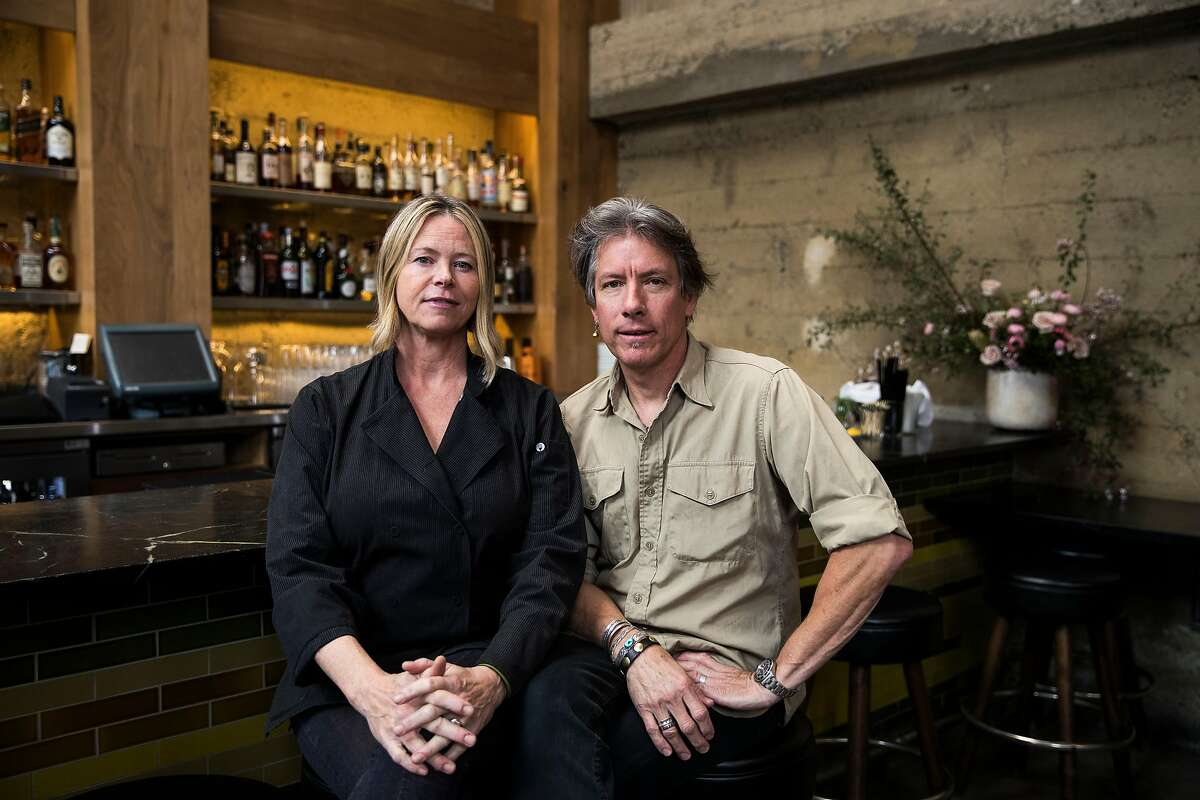Gayle Pirie, left, and John Clark, chef and co-ownerd of Foreign Cinema, sits for a portrait in San Francisco, Calif. on Thursday, March 23, 2017.