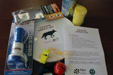 The coyote kit compiled by New Canaan Animal Control includes items like a horn and a whistle to safely scare off the animals.