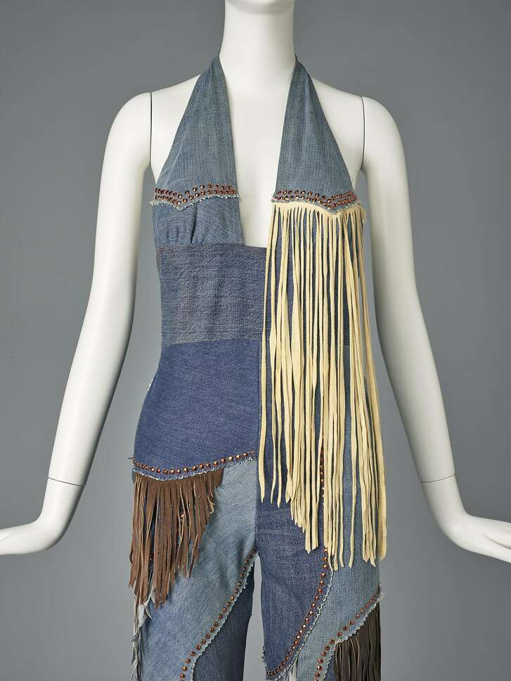 Melody Sabatasso for Love, Melody Originals, Woman�s pantsuit, ca. 1970. Pieced recycled denim with leather and suede fringe and Swarovski rhinestones.  Image Courtesy of the Fine Arts Museums of San Francisco