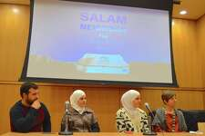 """The Arabic word """"salam"""" means """"peace,"""" as seen above in the film title at the discussion forum and screening of """"Salam Neighbor"""" at Darien Library, Monday, Mar. 27, 2017, in Darien, Conn."""
