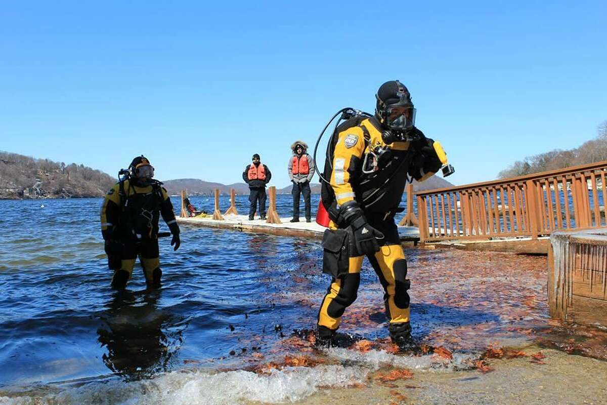 Brookfield Police Department's dive team investigates a report of zebra mussels during a cold-water training dive.