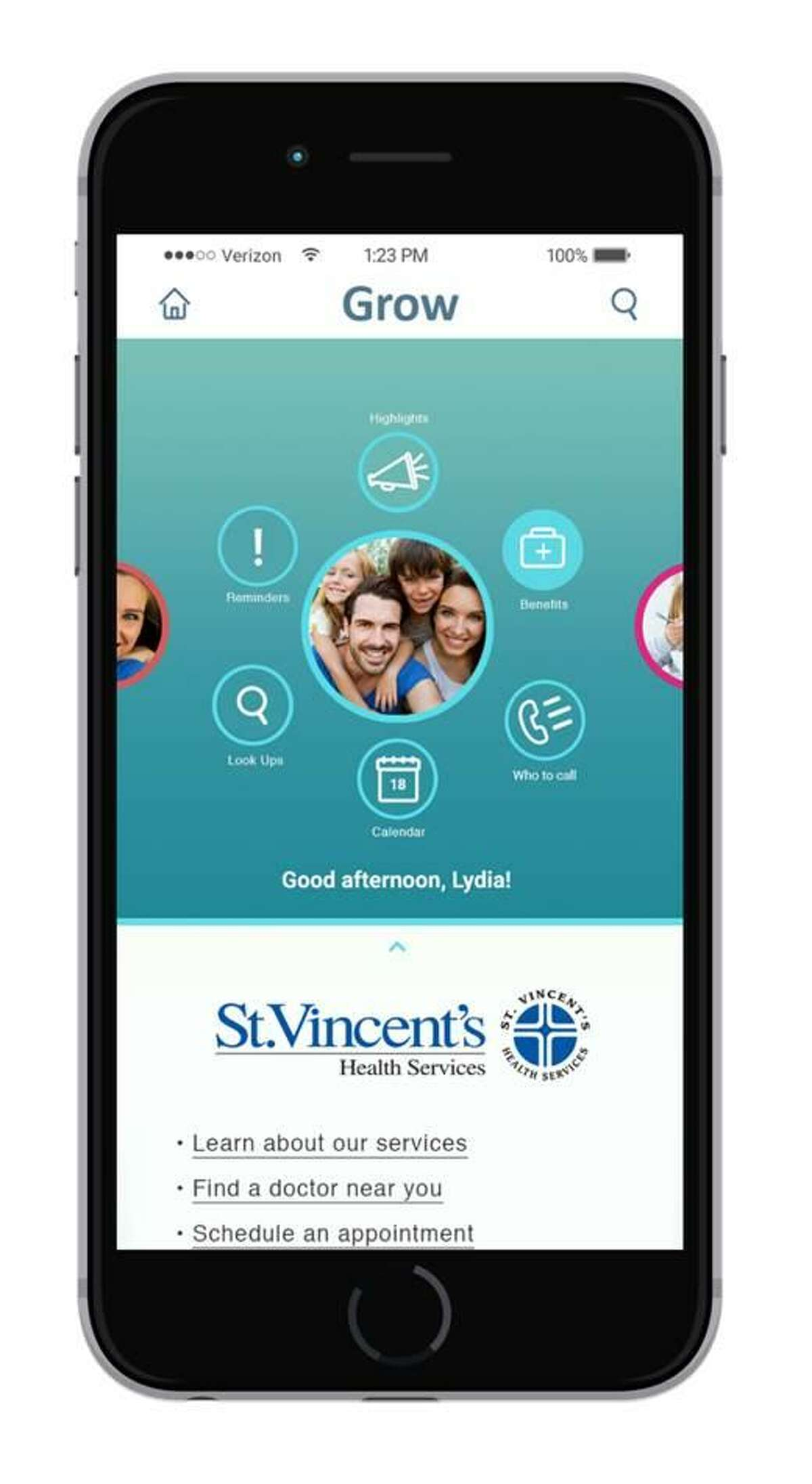 St. Vincent's Medical Center in Bridgeport is now connecting patients to health services through the mobile app Grow Family Health Organizer, which allows users to find local doctors, make appointments and do other health-related tasks. Images courtesy of St. Vincent's Medical Center.