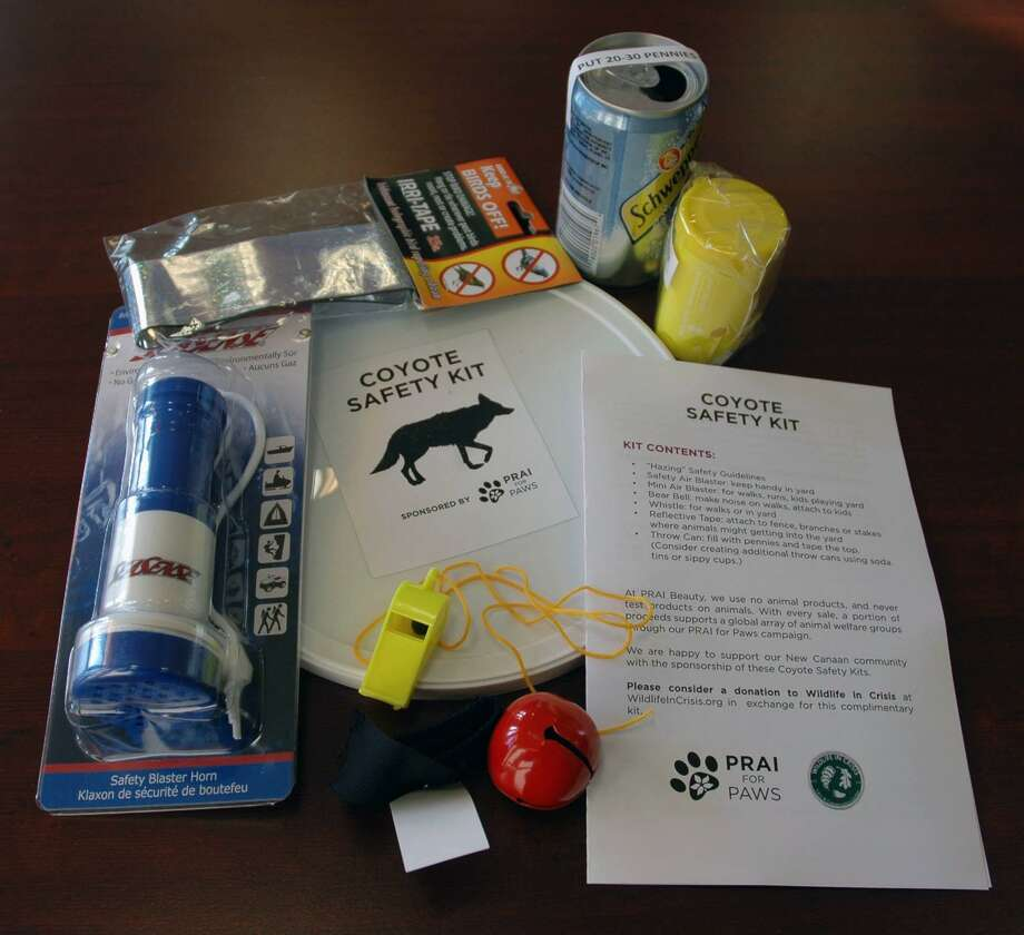 The coyote kit compiled by New Canaan Animal Control includes items like a horn and a whistle to safely scare off the animals. Photo: Contributed / Hearst Connecticut Media / New Canaan News