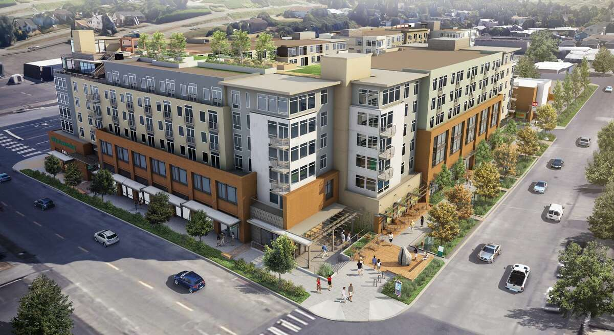 Renderings show the completed Whittaker development in West Seattle where Whole Foods is again planning to open a store.