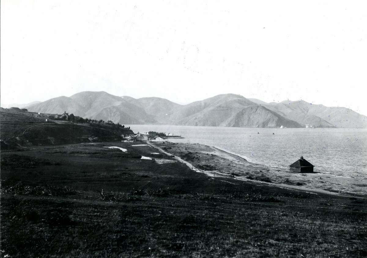 Looking toward the Golden Gate, decades before the bridge was built, from The Presidio of San Francisco in the 1880's.