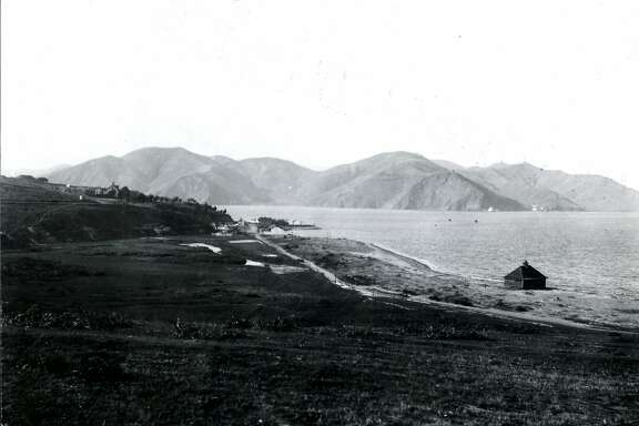 Looking toward the Golden Gate, decades before the bridge was built, from The Presidio of San Francisco ca. 1880's.