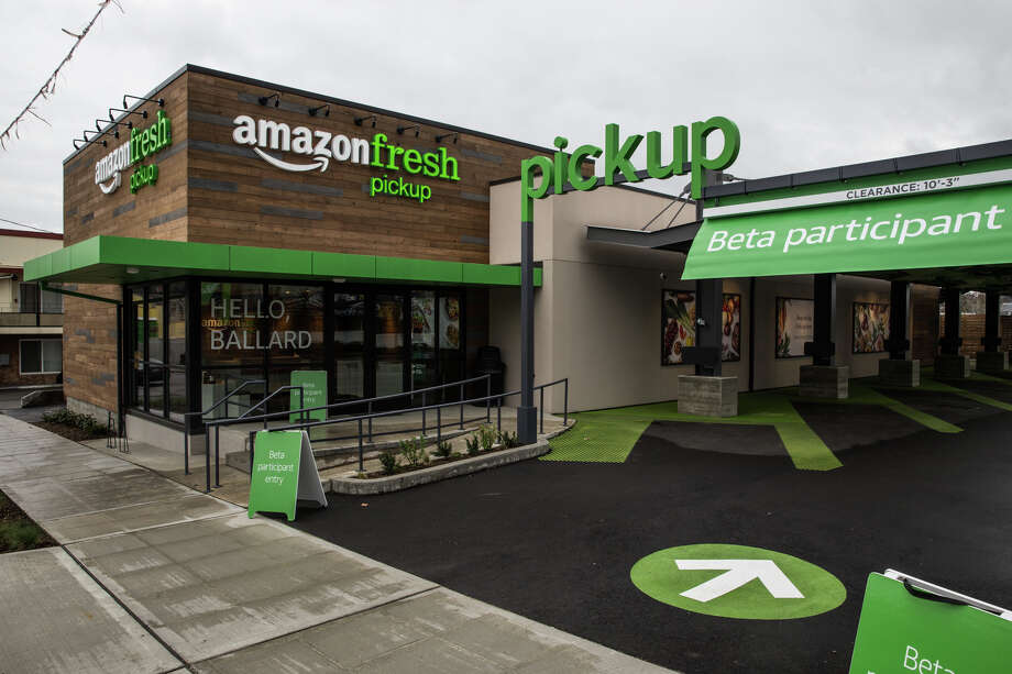 Ballard's new AmazonFresh Pickup location on 15th Ave NW and NW 52nd St. on Tuesday, March 28, 2017. Though there has been speculation, Amazon officially announced the grocery service on Tuesday. Photo: GRANT HINDSLEY, SEATTLEPI.COM / SEATTLEPI.COM