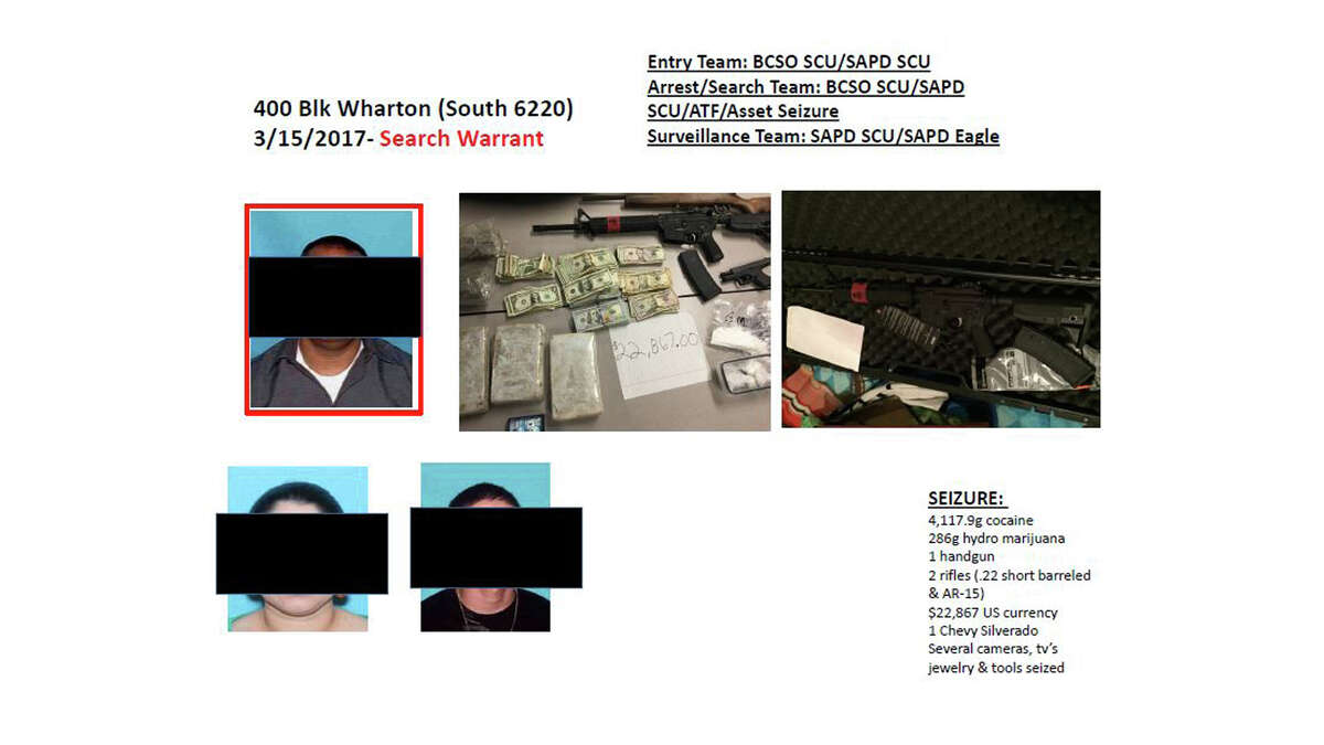 The Violent Crimes Task Force of the SAPD has seized a number of drugs, money and stolen vehicles.