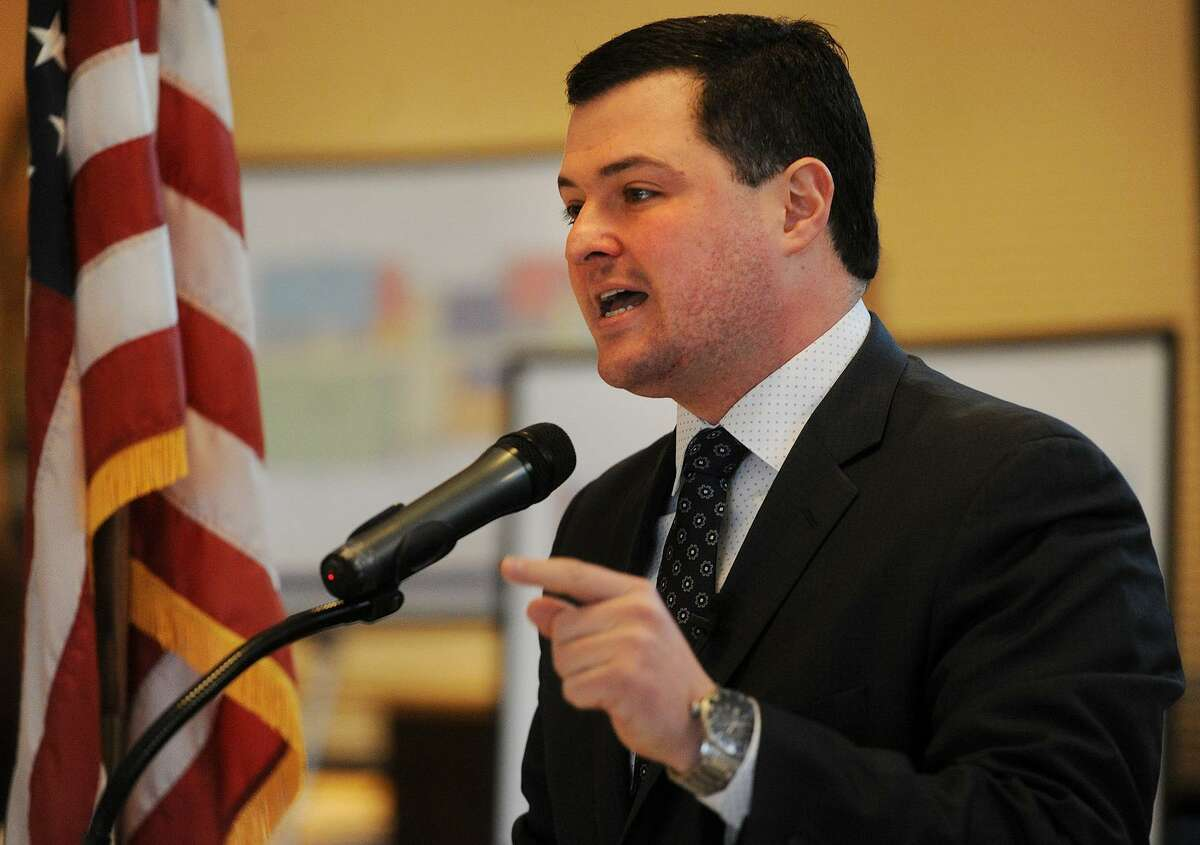 Trumbull First Selectman Tim Herbst delivers his annual State of the Town address at Tashua Knolls in Trumbull, Conn. on Tuesday, March 28, 2017.
