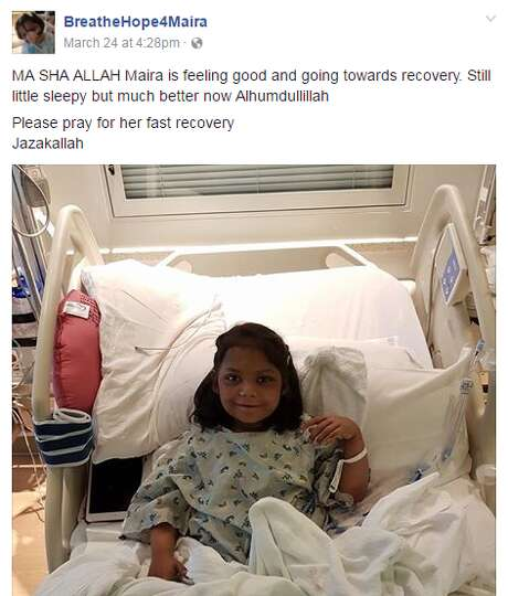 Maira Junaid, 9, is recovering at Texas Children's Hospital after her lung transplant.