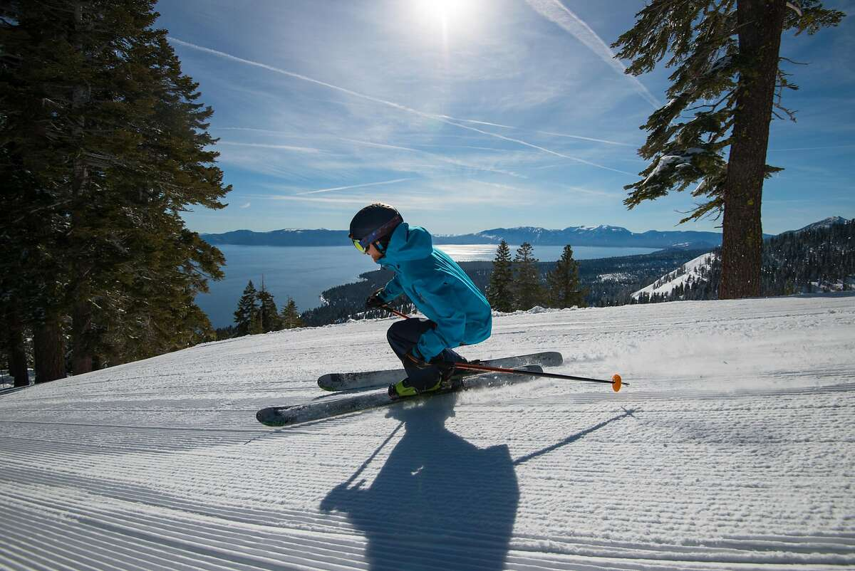 Skiing at Homewood Mountain Resort, not far from Tahoe City.