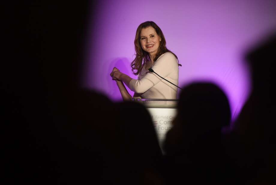 "Academy Award-winning actor Geena Davis pretends to swing a baseball bat while talking about her role in the movie ""A League of Their Own"" during the Fairfield County Community Foundation's Fund for Women and Girls annual luncheon at the Hyatt Regency in Old Greenwich, Conn. Thursday, April 9, 2015.  Davis, along with young speakers Corinne Wilkow, 15, and Eloisa Melendez, 21, told inspirational and empowering stories about overcoming obstacles to become successful women. Photo: Tyler Sizemore"