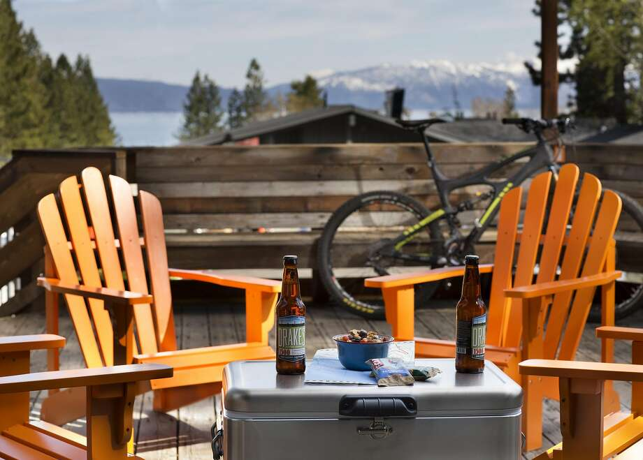 View of Lake Tahoe and the surrounding peaks from Tahoe City's Basecamp Hotel, a revamped '60s motor inn with woodsy-minimalist rooms. Photo: Paul Dyer, Basecamp Hotel