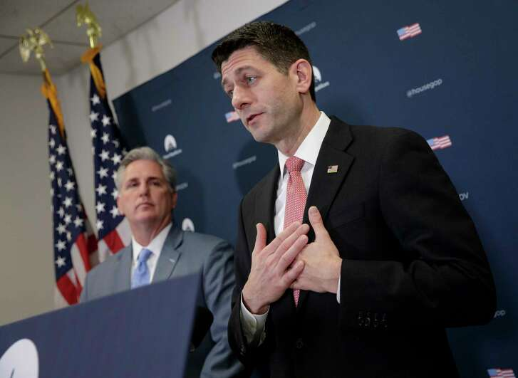 Speaker of the House Paul Ryan, R-Wis., joined by Majority Leader Kevin McCarthy of California, talks Tuesday about getting past last week's failure to pass a health care overhaul bill and rebuilding unity among Republicans  on Capitol Hill in Washington. (AP Photo/J. Scott Applewhite)