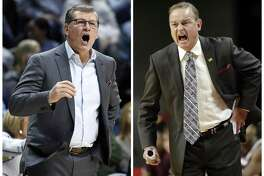 UConn coach Geno Auriemma, left, calls out to his team in this March 18 file photo, in Storrs,. Mississippi State head coach Vic Schaefer, right, directs his team in this Dec. 3, 2016, file photo, in Ames, Iowa. The coaches in the women's NCAA Final Four have some interesting connections.