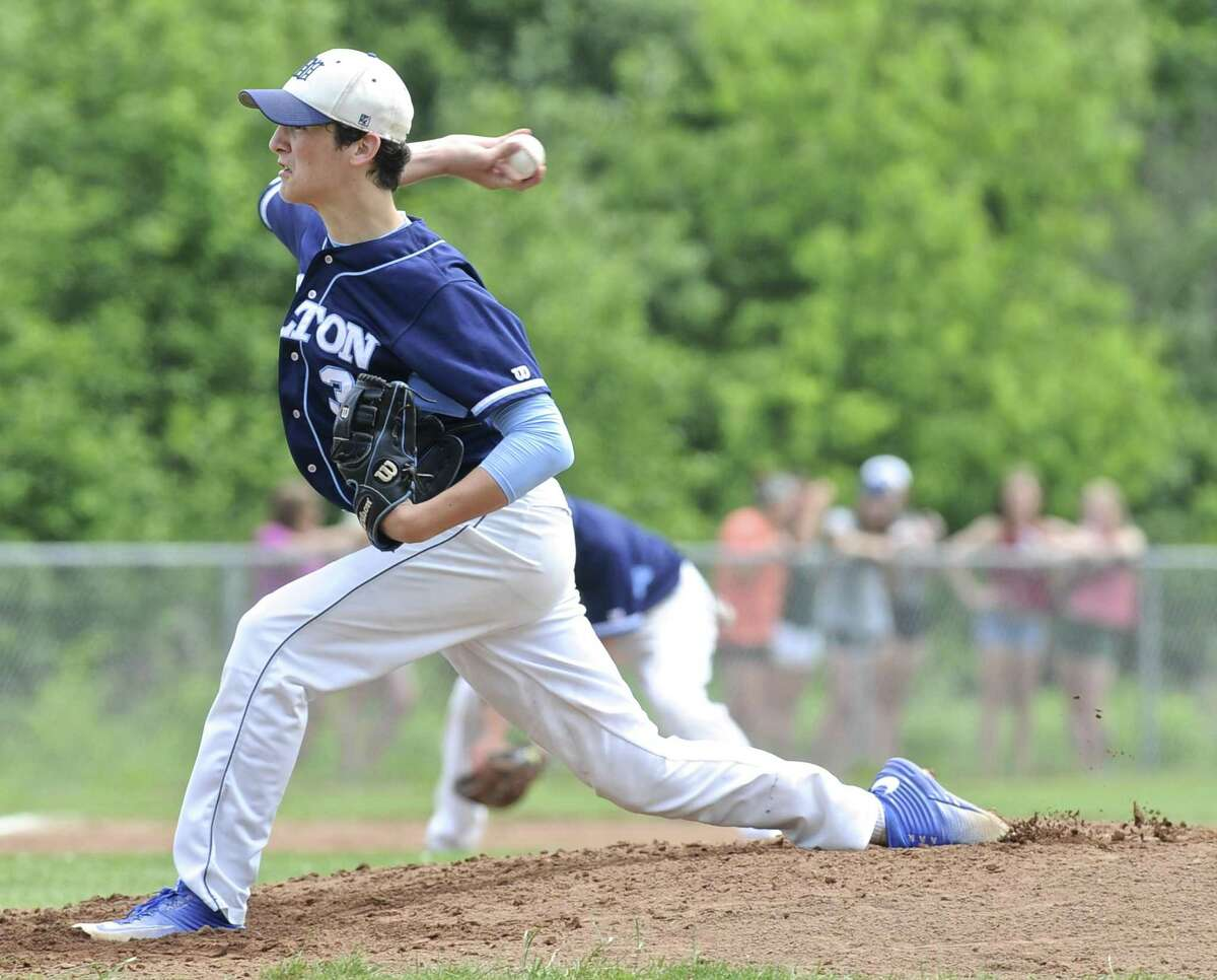 Wilton's William Black (3) pitches in the Connecticut Class LL quarterfinal baseball game between Wilton and New Fairfield high schools, on Saturday, June 4, 2016, at New Milford High School, New Milford, Conn.